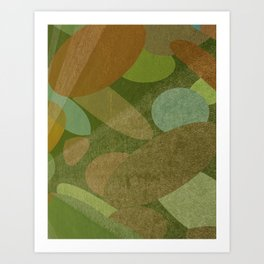 Abstract Autumn Green and Brown Art Print