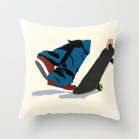 skate Throw Pillows featuring skate by the lazy pigeon