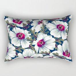 New Zealand Hibiscus Floral Print (Night) Rectangular Pillow