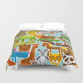 collection Funny cartoon Animals seamless pattern on blue background. Vector Duvet Cover