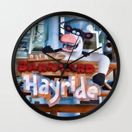 Back at the Barnyard Hayride Wall Clock