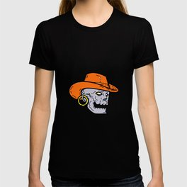Cowboy Pirate Skull Mono Line Art T-shirt