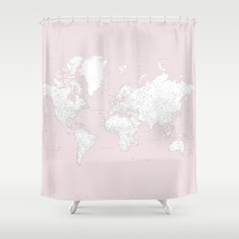 World map, highly detailed in dusty pink and white, square Shower Curtain