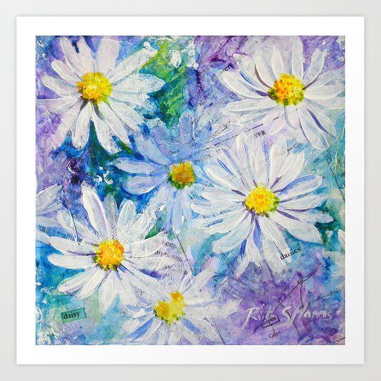Daisy Daisies Floral Mixed Media Painting Flower Art Art