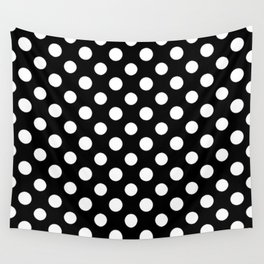 Black and White Polka Dot Pattern Wall Tapestry