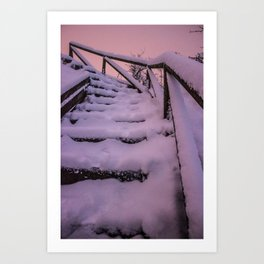 Snow covered Stairway to Heaven Art Print
