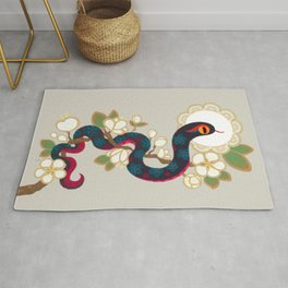 Snake and flowers 2 Rug