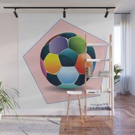 Soccer ball inside pink pentagon Wall Mural