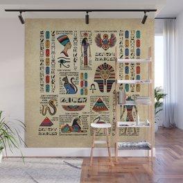 Egyptian hieroglyphs and deities on papyrus Wall Mural