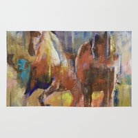 horses Area & Throw Rugs featuring Horses by Michael Creese