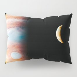 Jupiter And Its Volcanic Moon Io, Galaxy Background, Universe Large Print, Space Wall Art Decor Pillow Sham