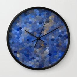 Blue mosaic tile abstract Wall Clock