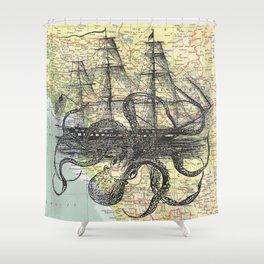 Octopus Attacks Ship on map background Shower Curtain