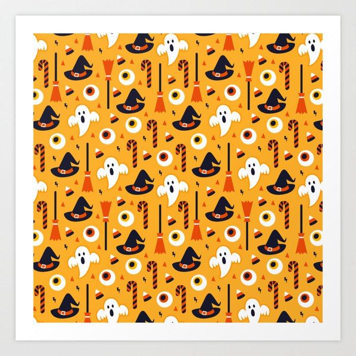Happy halloween ghosts, brooms, eyeballs and witch hats pattern Kunstdrucke