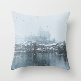 Snowy Castle Throw Pillow