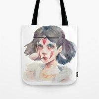 princess mononoke Tote Bags featuring Princess Mononoke by Kazel