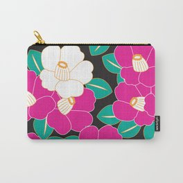 Japanese Style Camellia - Pink and Black Carry-All Pouch
