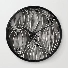 Black Vietnamese Lanterns Wall Clock