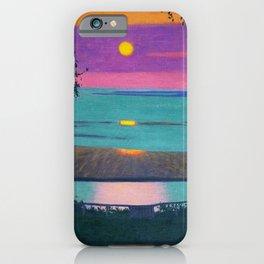 Sunset at Grace, Orange and Violet Sky landscape by Felix Vallotton iPhone Case