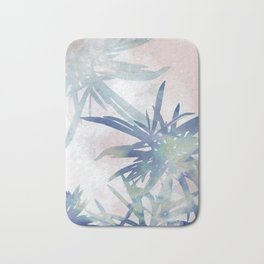 Navy Blue and Blush Pink Palm Leaf Watercolor Painting Bath Mat