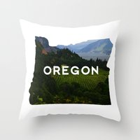 oregon Throw Pillows featuring Oregon by Hillary Murphy