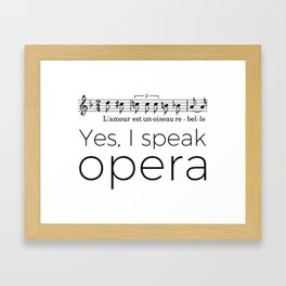 I speak opera (mezzo-soprano) Framed Art Print