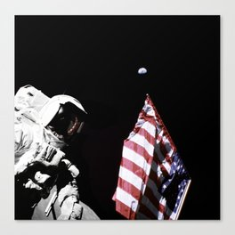 Schmitt with Flag and Earth Above Canvas Print