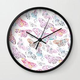 Marbling Butterflies Wall Clock