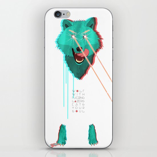 Wolf With F**king lasers iPhone & iPod Skin