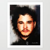 john snow Art Prints featuring Kit Harrington aka John Snow by André Joseph Martin