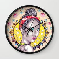 you are my sunshine Wall Clocks featuring Sunshine by Peter Fulop