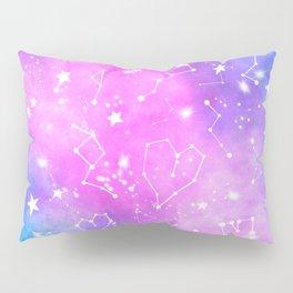White constellation universe pattern zodiac on purple blue nebula space watercolor Pillow Sham