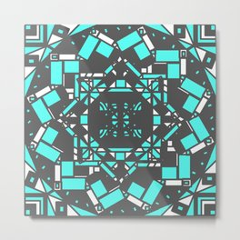 Cool Teal Blue Geometric Squares and Rectangles Mandala Metal Print