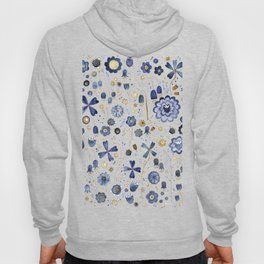 Indigo Flowers at Midnight Hoody