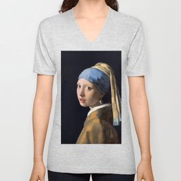 Johannes Vermeer - Girl with a Pearl Earring Unisex V-Neck