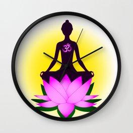 Yoga meditation in pink lotus flower Wall Clock