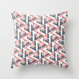 Triangle Optical Illusion Coral Dark Throw Pillow