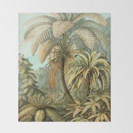 Vintage Tropical Palm Throw Blanket