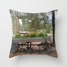 Wagon of Flowers Throw Pillow