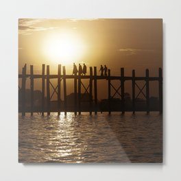 Monks on U Bein Bridge Metal Print