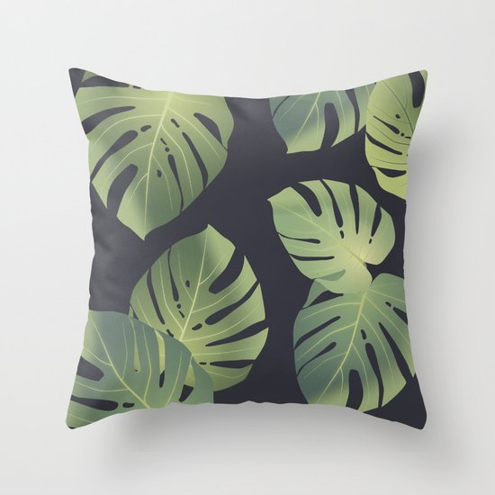 Monstera tropical leaf Throw Pillow