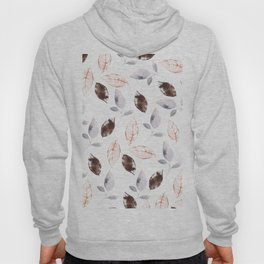 Brown lilac coral watercolor hand painted leaves Hoody