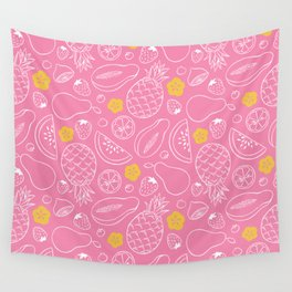 Fruit Salad - Pink Wall Tapestry