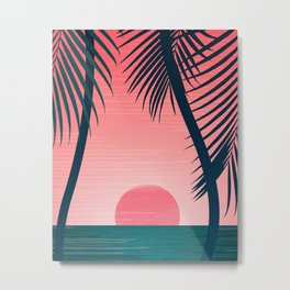 Tropical Sunset Scene - Pink and Emerald Palette Metal Print