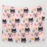 puppies Wall Tapestries featuring Pom Party by scoobtoobins