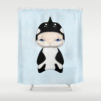 killer whale Shower Curtains featuring A Boy - Killer Whale by Christophe Chiozzi
