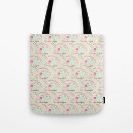 Pink teal gren love birds my valentine romantic floral Tote Bag