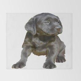 Adorable and Cute Black Labrador Puppy Vector Throw Blanket