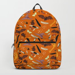 Halloween Pattern with Orange Background Backpack