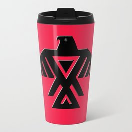 Thunderbird, Emblem of the Anishinaabe people - Black on Red Travel Mug
